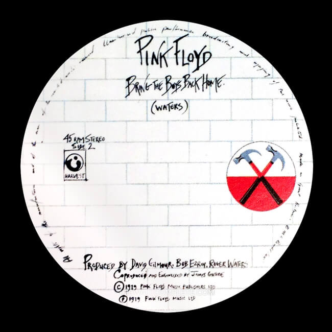bring the boys back home, label art, gerald scarfe, pink floyd, the wall, run like hell